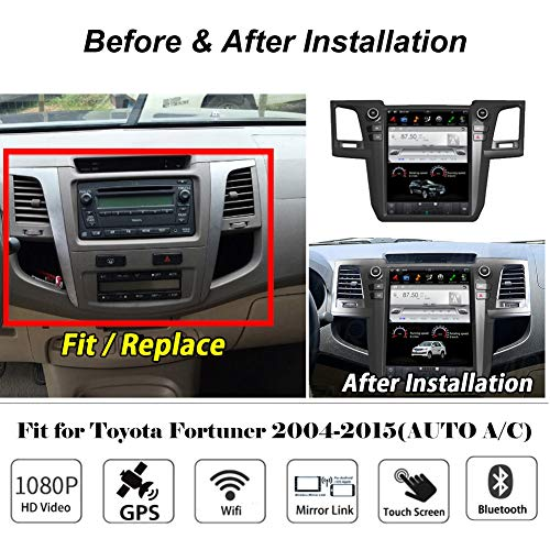 Flyunice 12.1 Inch IPS Vertical Screen Tesla Style Android 7.1 Touch Screen Car Stereo Radio for Toyota Fortuner Revo 2004-2015 Auto A/C Head Unit Multimedia Bluetooth GPS Navigation WiFi 4G