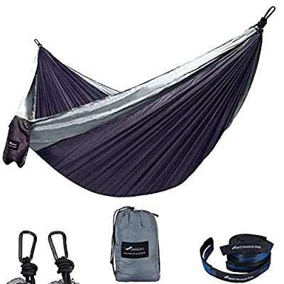 Geezo Double Camping Hammock, Lightweight Portable Parachute (2 Tree Straps 16 LOOPS/10 FT Included) 500lbs Capacity Hammock for Backpacking, Camping, Travel, Beach, Garden (Gray/Dark Gray)