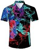 Smoke Shirts for Men Button Down Aloha Shirts 70s Man Long Sleeve Buttons Down Tops Adults Colorful Flame Slim Fit Dress Shirt Big Boys Hip Hop Vintage Tees, Smoke M