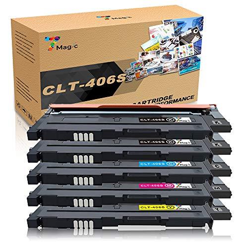 7Magic Kompatibel Samsung CLT-P406C/ CLT-406S, CLT-K406S CLT-C406S CLT-M406S CLT-Y406S Toner Patronen (2 Schwarz 1 Cyan 1 Gelb 1 Magenta)