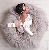 Giggle Angel Newborn Lace Romper Baby Girl Outfit Photography Prop Vintage Newborn Romper with Ribbon Bow and Matching Headband