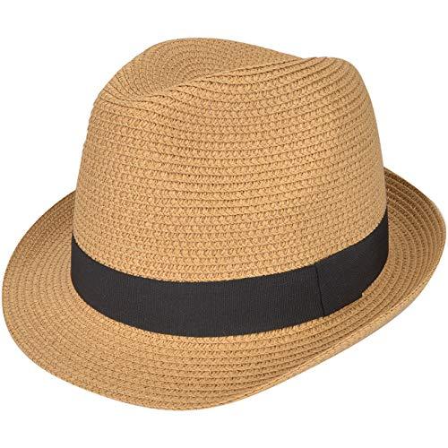 Maylisacc - Sombrero de paja transpirable para mujer, estilo panameño, para verano, con lazo, trilby, protección solar