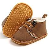 LAFEGEN Newborn Baby Booties Boys Girls Shoes Warm Winter Faux Fur Lining Non-Slip Lace Up Infant Toddler First Walker Crib Boots, 3-6 Months Infant, 02 Dark Brown