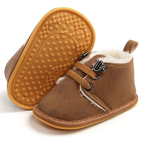 LAFEGEN Newborn Baby Booties Boys Girls Shoes Warm Winter Faux Fur Lining Non-Slip Lace Up Infant Toddler First Walker Crib Boots, 3-6 Months Infant, 02 Dark Brown