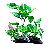 LOKOER Planta de agua artificial, simulación de acuario, paisaje, fondo verde, decoración de plástico para acuario