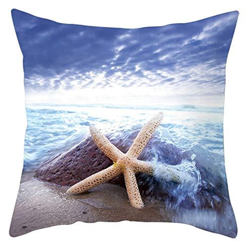 Socoz Par de fundas de almohada de poliéster con piedra cielo, estrella marina, marrón y azul