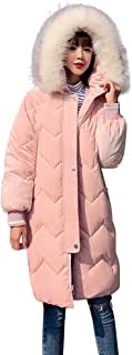 Women Warm Long Coats with Fur Trim Hood SFE Winter Corduroy Zip-Off Thickened Jackets Soft Warm Comfy Parka with Pocket