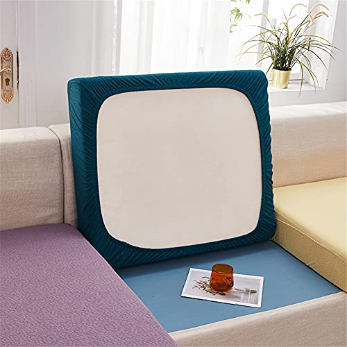 Fundas de cojín elásticas para sofá, fundas de cojín impermeables, fundas de cojín de repuesto para cojines individuales (verde azulado, cuadrado)