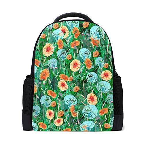 Ahomy Reise-Laptop-Rucksack, Aquarell, Sommer, Pusteblumen, Blätter, Blumen, Tagesrucksack, Büchertasche, Schultasche für Mädchen/Jungen/Teenager