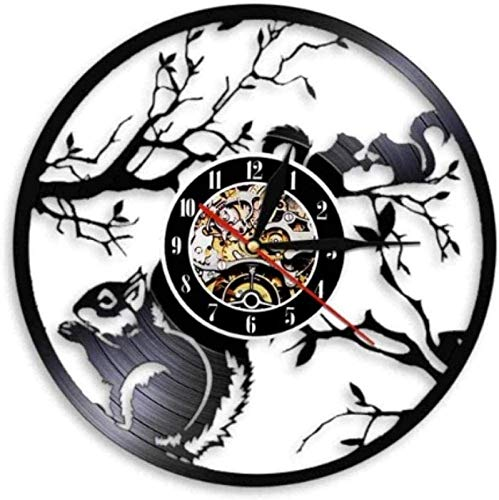 BANNAB Vinyl Wall Clock Squirrels in Love Wall Clock Woodland Animal Home Decoration Squirrels on a Tree Vintage Vinyl Record Wall Clock with LED Gift
