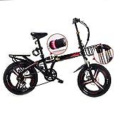 Bicicletas plegables, 20 pulgadas de hombres y mujeres modelos ligeros para bicicleta Adult Mini coche velocidad doble doble del disco de freno de la absorción de choque de bicicletas,Negro,20 inches