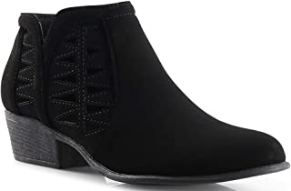 LUSTHAVE Womens Western Cut Out Perforated Low Heel Ankle Boots Bootie