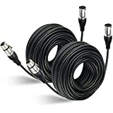 EBXYA 100Ft XLR Microphone Cables 2 Packs - Premium Balanced Mic Speaker Cable with 3 Pins XLR Male to Female 100 Feet, Black