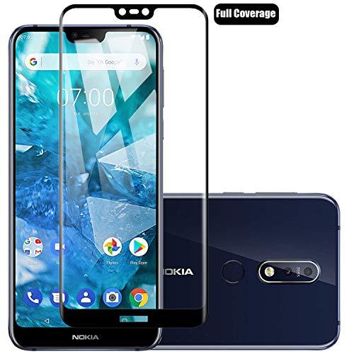 Voviqi Nokia7.1 Panzerglas, Hüllenfre&lich Vollständige Abdeckung Schutzfolie gehärtetem Glas Folie Blasenfrei Volle Abdeckung Bildschirmschutzfolie für Nokia7.1 (Schwarz)