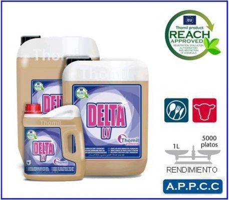 Nettoyant lave-vaisselle eaux dureté moyenne Détergent liquide concentré de Grand Pouvoir PEQUINSA Dégraissant et desmanchante pour le lavage de vaisselle, couverts, Lot et ustensiles de cuisine en Lave-vaisselle de cycles ou Tunnel de lavage. Contient secuestrantes de chaux et minéraux qui empêchent la formation de Incrustations. Très Rentable et efficace. apte pour utilisation dans les eaux de jusqu'à 15ºhf. Compatible avec acier inoxydable, faïence et plastiques. Bidon 4,6 kg, 2