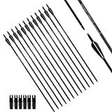PANDARUS Archery 30Inch Carbon Practice Hunting Arrows 7.8MM with Removable for Youth Compound & Recurve Bow Target SP500 (Pack of 12)