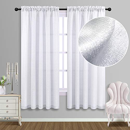 White Curtains 63 Inch Length for Bedroom Silver Glitter Shiny Shimmer Sparkle Design Rod Pocket Light Filtering Semi Sheer Luxury Window Curtain Panels for Girls Room Decor Living Room 52x63 Long