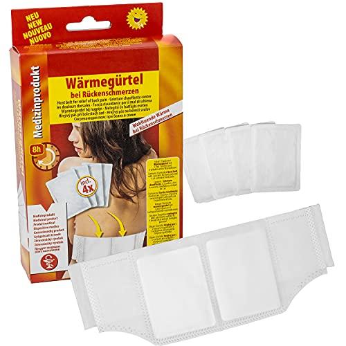 Selldorado® Wärmegürtel mit 4 Wärmekissen für den unteren Rücken, Wärmepflaster zur Behandlung von Rückenschmerzen, Rückenwärmepflaster zur Entspannung von Muskel-Blockaden - Luft-aktivierend, S - XL