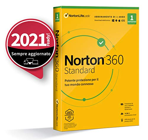 Norton 360 Standard 2021, Antivirus per 1 Dispositivo, Licenza di 1 anno, Secure VPN e Password Manager, PC, Mac, tablet e smartphone