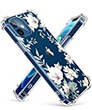 GVIEWIN Clear Floral Case Compatible with iPhone 12 and iPhone 12 Pro 6.1 Inch 2020, Soft & Flexible TPU Shockproof Cover Women Girls Flower Pattern Phone Case (Magnolia/White)