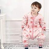 Invierno Calentito Pyjamas,Saco De Dormir De Invierno Para Bebé Con Piernas Y Mangas, Pijama Unisex De Manga Larga Para Niños-Elefante Bebé Rosa_Metro