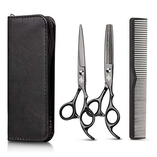 Hair Cutting Scissors Set with Hair Comb, Leather Scissors Case and Hair Cutting Cape, Sharp Regular...