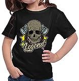 Hariz - Camiseta para niña, diseño de flechas Legend, calaveras, diana, diana, deportiva, incluye tarjetas de regalo Negro 14 años