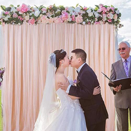 YGGY Tüll hängen Vorhang für Hochzeit Hintergrund Vorhang Event Party Dekor Geburtstag Bühne Hintergrund Seidenvorhang Dekoration für Bühne, Champagner
