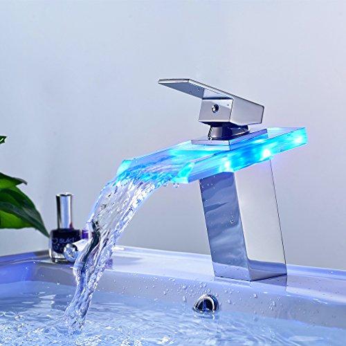 BONADE Wasserhahn Bad LED Waschtischarmatur mit RGB 3 Farbewechsel aus Glas Badarmatur Wasserfall Mischbatterie Waschbecken Einhebelmischer für Badezimmer