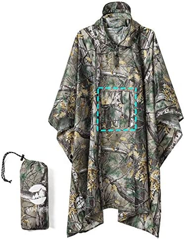 Camping Rain Poncho Waterproof Raincoat Jacket for Men Women Adults Leaf Camouflage 3 in 1 product image