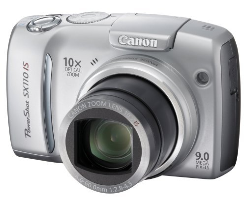 Canon Powershot SX110IS 9MP Digital Camera with 10x Optical Image Stabilized Zoom (Silver)