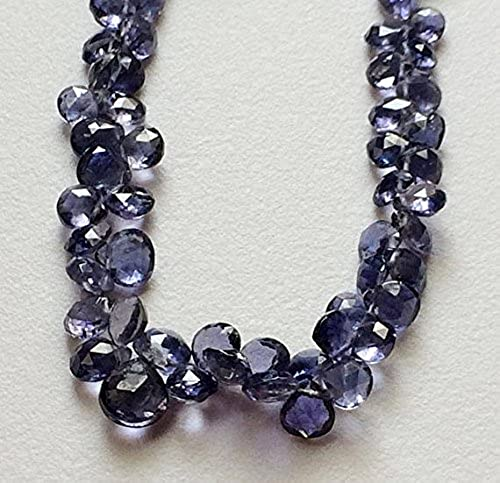 1 rang Natur 8,9  Iolith Herz Perlen, 40 s Sch  lilat Blau Iolith Facettiert Herz Perlen, Iolith Halskette, 4,5–5