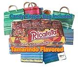 Ricaletas Ricaleta Mexican Candy Ricaletas Paletas Regular Size Tamarindo Flavored Lollipop (25 Count) + Mexican Mercado Lollipop keeper Bag Bundle