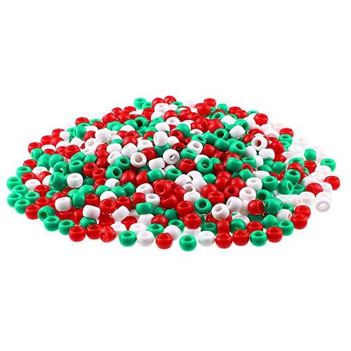 Eamasawa-10000506 1000 Stück Acryl Pony Perlen,Weihnachten Runde Perlen,Rot Weiss(10000506),Farb/Klassifizierungsmodell