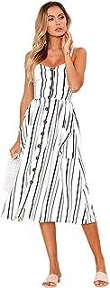 Women's Sleeveless Dresses Floral Bohemian Stripes Button Polka Dots Adjustable V Neck Split Dress with Pockets