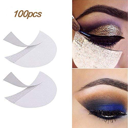LKE 100pcs Eyeshadow Stencils makeup tape Professional Lint Free Under Eye Eyeshadow Gel Pad Patches eyeliner tape for Eyelash Extensions/Lip Makeup supplies