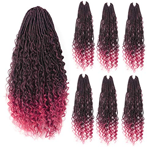 Hahoness 18 Inch 6 Packs Waterfall Goddess Faux Locs Crochet Hair With Curly Branch and Ends 144 Strands Ombre Red Pre Looped Crochet Hair For Black Women Hair Extensions(18 Inch(Pack of 6),T118)