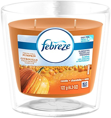 Febreze Scented Candle Fresh Fall Pumpkin Air Freshener (1 Count, 4.3 Oz), 0.269 Pound