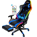 POWERSTONE RGB Gaming Chair with Footrest - Ergonomic High Back PC Gaming Chair Massage Lumbar Adjustable Armrest Height Swivel Racing Chair PU Leather Computer Chairs, Blue