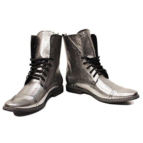 PeppeShoes Modello Silvero - EU 46 - US 13 - UK 12-30,8 cm - Handgemachtes Italienisch Bunte Herrenschuhe Lederschuhe Herren Silber Hohe Stiefel - Ziegenleder Weiches Leder - Schnüren