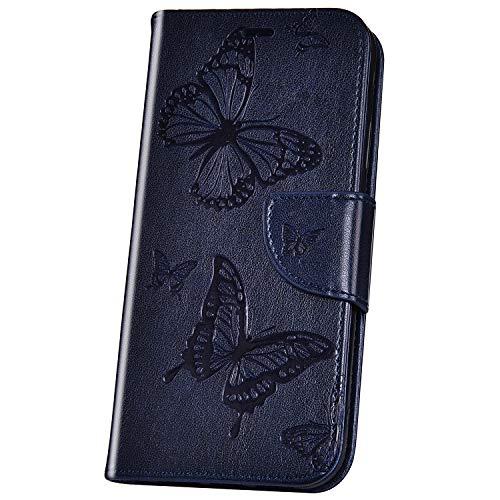 JAWSEU Compatible avec Samsung Galaxy A7 2018 Coque Portefeuille PU Étui Cuir à Rabat Magnétique Mode Retro 3D Papillon Fleur Motif Ultra Mince Stand Leather PU Flip Wallet Case,Bleu