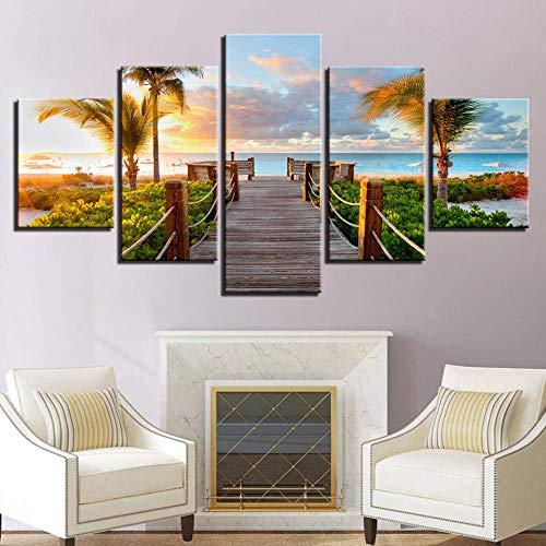 SLSMD-ART fotobehang 5 stuks canvas gedrukt zonsondergang strand muurkunst woonkamer slaapkamer decoratie, 100x55cm Eén maat 30 x 40 cm x 2 30 x 60 cm x 2 30 x 80 cm x 1.