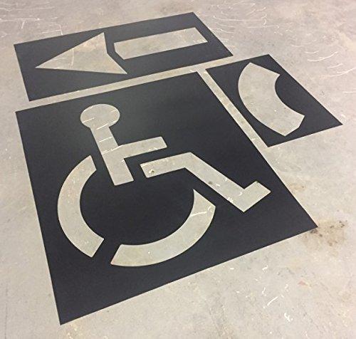 "Parking Lot Stencil kit - Includes: 39"" Handicap Logo, 42"" Straight & Turn Arrow"