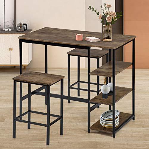 jeerbly Juego de mesa de bar y taburetes, 3 piezas, mesa de bar con 2 taburetes y grandes estantes de almacenamiento para cocina, comedor, esquina, estilo industrial