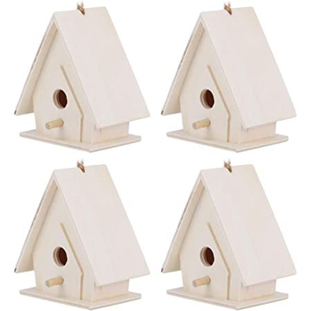 Maisons d'oiseaux pour l'extérieur, 4 pièces nichoir en bois suspendus nid cage maisons d'oiseaux pour jardin cour décor, 6.5x4x7cm