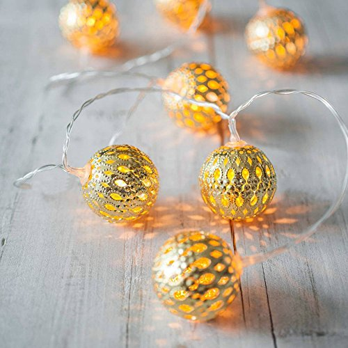 Globe String Lights,Goodia Battery Operated 10.49ft 30 LED Gold Moroccan for Bedroom,Patio,Lawn,Landscape,Fairy Garden,Home,Wedding,Holiday,Christmas Tree,Party (Warm White)