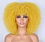 Curly Wigs for Black Women Afro Curly Wigs with Bangs 14inch Afro Hair Cosplay Party Synthetic Fiber Wigs Short Curly Wig (Yellow)…