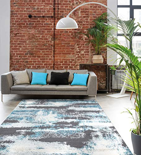 Rustic blue area rug