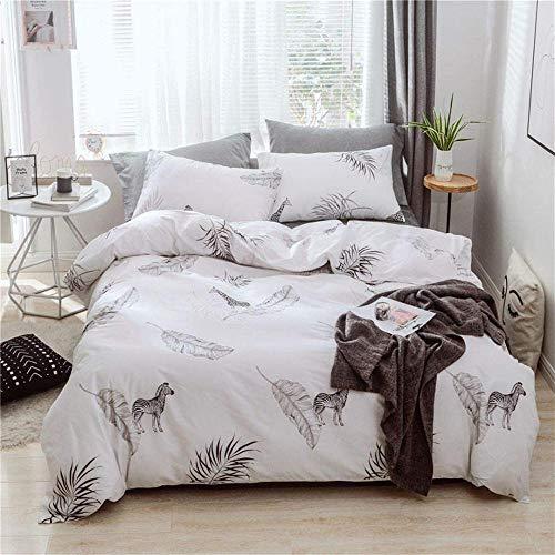 Dvvseso Bedding Set for Girls Bedroom Decor Twin Quilt Duvet Cover Set Single Bed Sheet Baby Kids Home Children linens 3D ( Double size 200 x 200 cm) Animal zebra leaf simple white + 2 Pillowcase -A