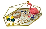 Outdoorfly Prisma Tray Metal Mirrored Ornate Decorative Tray for Jewelry Makeup Organizer Vanity Countertop Storage Tray Hexagonal Desktop Cosmetic Jewelry Organizer(Gold)